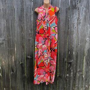 Natori Sz M Rayon Maxi Dress Tropical Loungewear